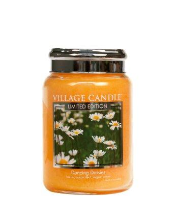 Village Candle - Large Glass Jar - Dancing Daisies