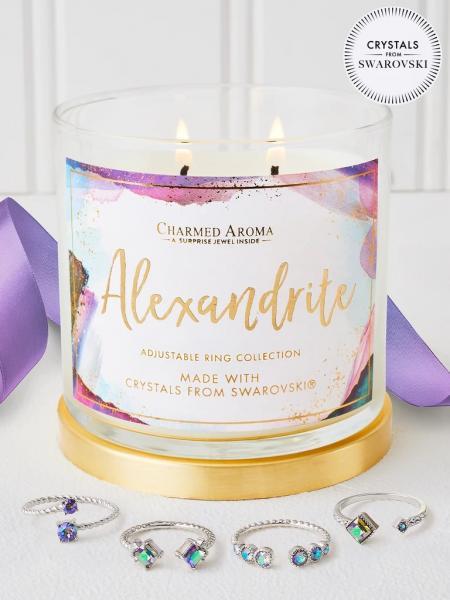 Charmed Aroma - Duftkerze mit Schmuck - Alexandrit Geburtsstein Kerze mit Swarovski Kristallen (Ring