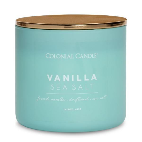 Colonial Candle - Mittlere Duftkerze im Glas - Pop of Color - Vanilla Sea Salt
