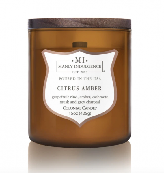 Colonial Candle - Mittlere Duftkerze im Glas - Manly Indulgence - Citrus Amber