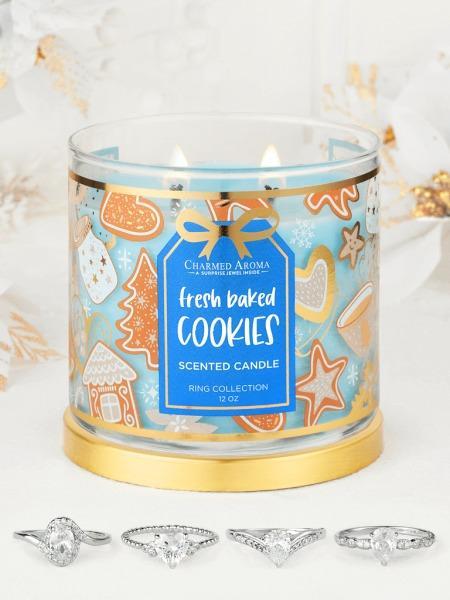 Charmed Aroma - Duftkerze mit Schmuck - Fresh Baked Cookies Kerze (Ring)