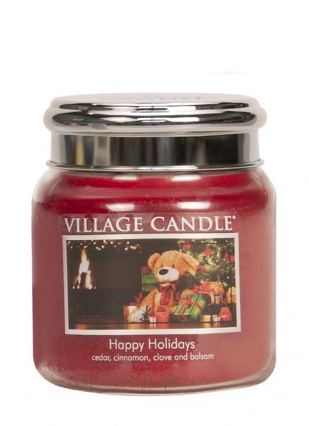 Village Candle - Medium Glass Jar - Happy Holidays