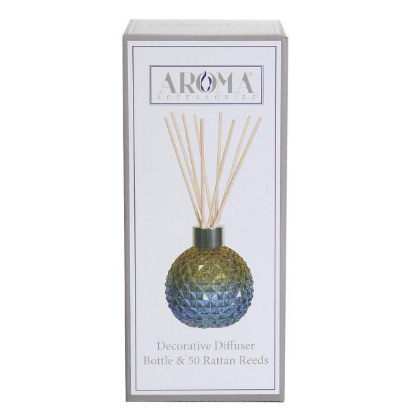 Woodbridge Candle - Reed-Diffuser Vase inkl. 50 Reed Sticks - Blau/Grün