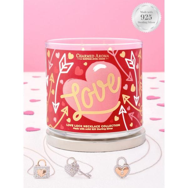 Charmed Aroma - Duftkerze mit Schmuck - Duftkerze im Glas Love (Halskette)