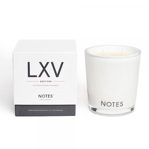 NOTES - Large Candle Glass - Duftkerze - LXV - Sixty Five - Whispering Woods & Mandarin