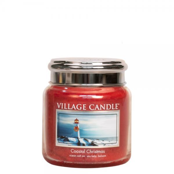 Village Candle - Medium Glass Jar - Coastal Christmas