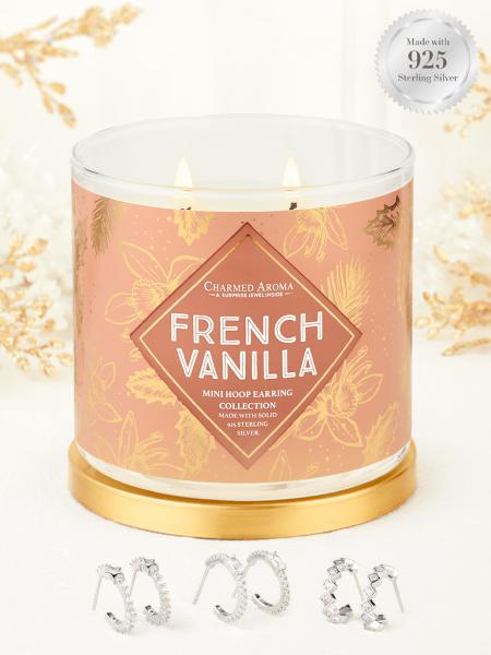 Charmed Aroma - Duftkerze mit Schmuck - French Vanilla (Ohrringe)