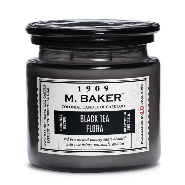 Colonial Candle - Mittlere Duftkerze im Glas - M. Baker - Black Tea Flora