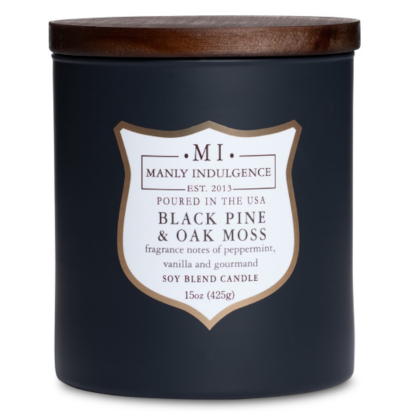 Colonial Candle - Mittlere Duftkerze im Glas - Manly Indulgence - Black Pine & Moss