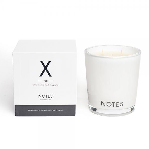 NOTES - Large Candle Glass - Duftkerze - X - Ten - White Musk & Fresh Magnolia