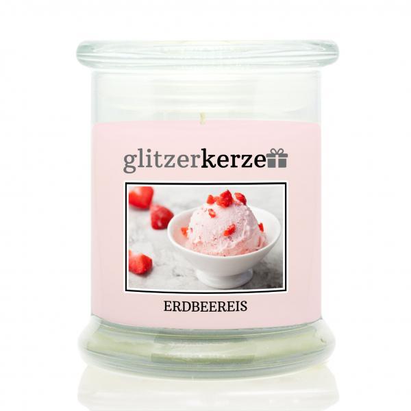 glitzerkerze - Duftkerze - Erdbeereis