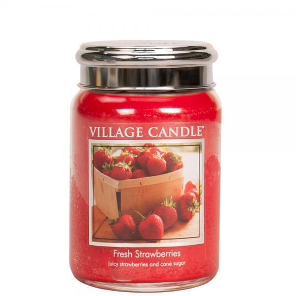 Village Candle - Large Glass Jar - Fresh Strawberries
