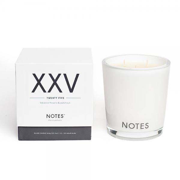 NOTES - Large Candle Glass - Duftkerze - XXV - Twenty Five - Tobacco Flowers & Patchouli