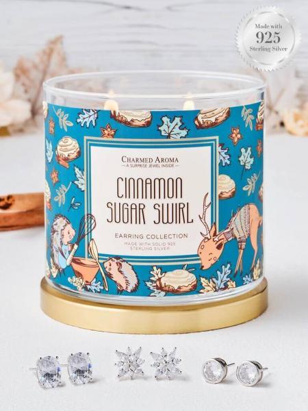 Charmed Aroma - Duftkerze mit Schmuck - Cinnamon Sugar Swirl (Ohrringe)