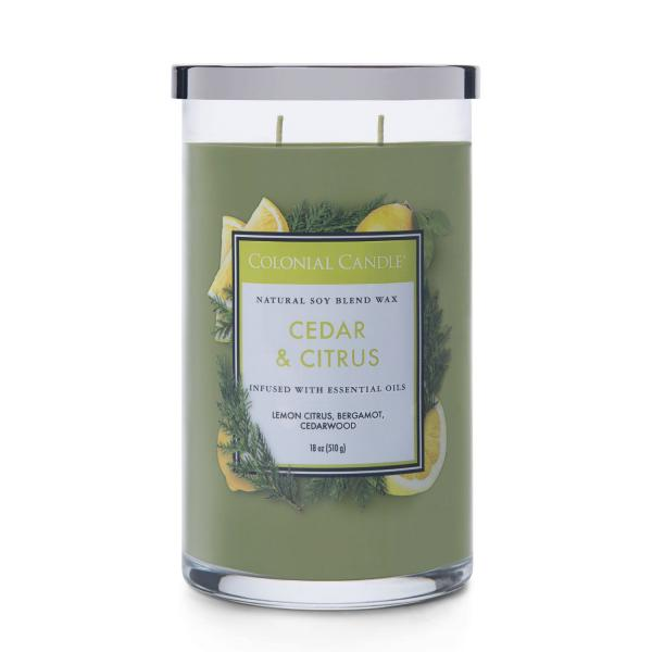 Colonial Candle - Große Duftkerze im Glas - Classic Cylinder - Cedar & Citrus