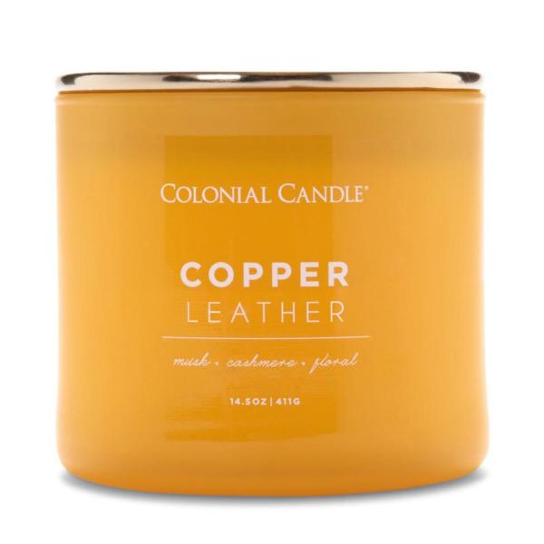 Colonial Candle - Mittlere Duftkerze im Glas - Pop of Color - Copper Leather