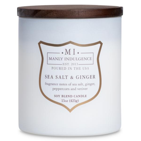 Colonial Candle - Mittlere Duftkerze im Glas - Manly Indulgence - Mi Ww White Sea Salt & Ginger