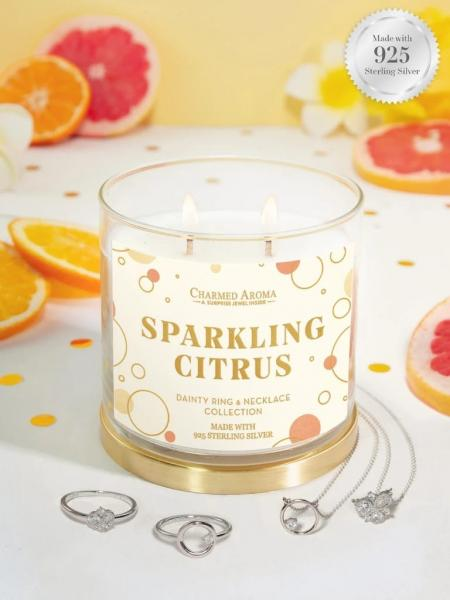 Charmed Aroma - Duftkerze mit Schmuck - Sparkling Citrus (Ring + Halskette)