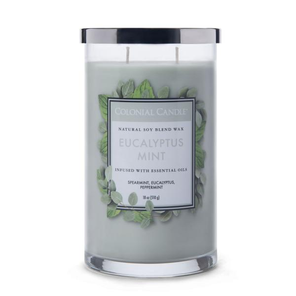 Colonial Candle - Große Duftkerze im Glas - Classic Cylinder - Eucalyptus Mint
