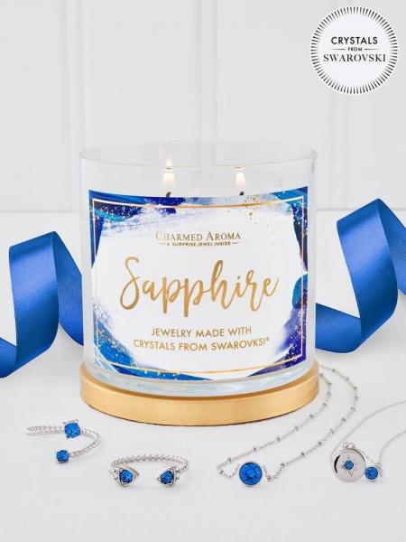 Charmed Aroma - Duftkerze mit Schmuck - Sapphire Geburtsstein Kerze mit Swarovski Kristallen (Halske