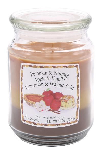 Candle-Lite Company - 3-Layer Duftkerze - Large Jar - Pumpkin & Nutmeg, Apple & Vanilla