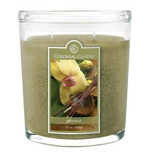 Colonial Candle - Große Duftkerze im Glas - Oval Collection - Patchouli