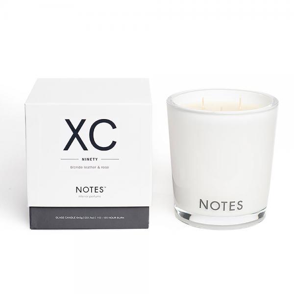 NOTES - Large Candle Glass - Duftkerze - XC - Ninety - Blonde Leather & Rose