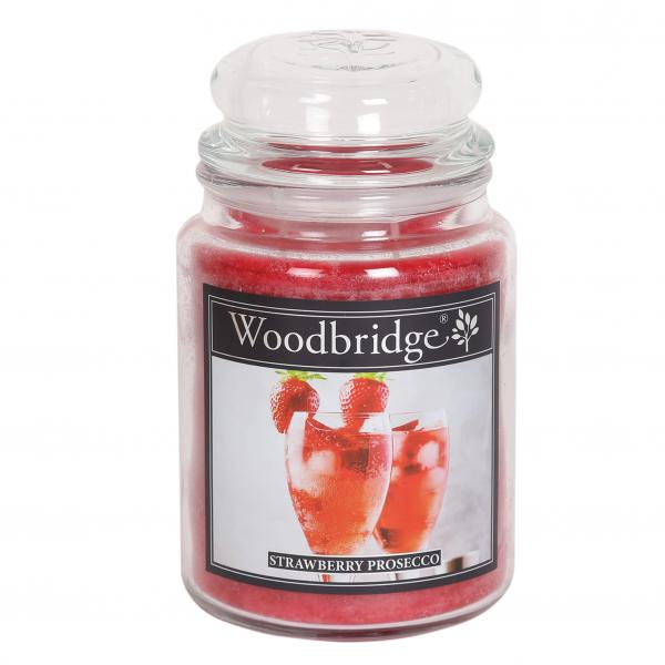 Woodbridge Candle - Große Duftkerze im Glas - Strawberry Prosecco