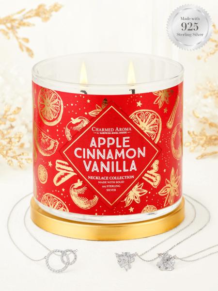 Charmed Aroma - Duftkerze mit Schmuck - Apple Cinnamon Vanilla (Halskette)