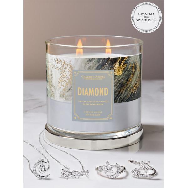 Charmed Aroma - Duftkerze mit Schmuck - Duftkerze im Glas Diamant Geburtsstein (Ring oder Halskette)