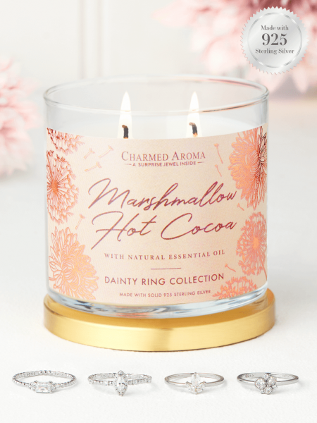 Charmed Aroma - Duftkerze mit Schmuck - Marshmallow Hot Cocoa (Ring)