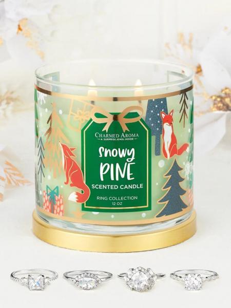 Charmed Aroma - Duftkerze mit Schmuck - Snowy Pine Kerze (Ring)
