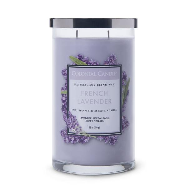 Colonial Candle - Große Duftkerze im Glas - Classic Cylinder - French Lavender