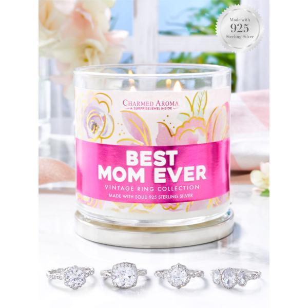 Charmed Aroma - Duftkerze mit Schmuck - Duftkerze im Glas Best Mom Ever Vintage (Ring)