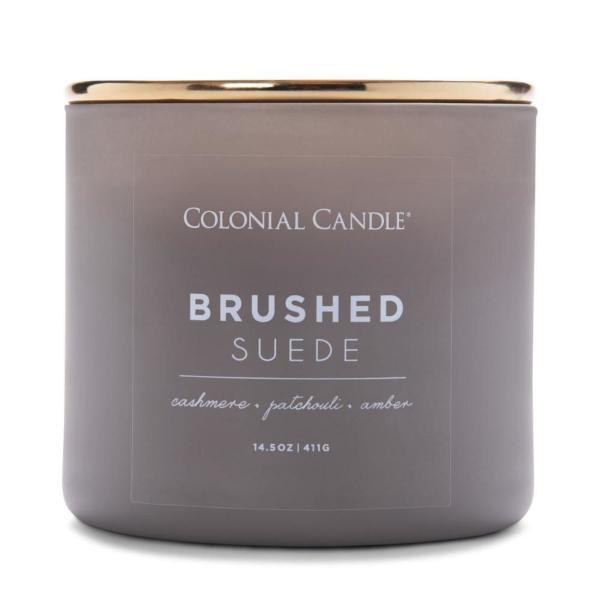 Colonial Candle - Mittlere Duftkerze im Glas - Pop of Color - Brushed Suede