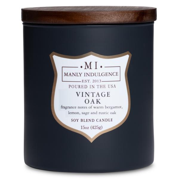 Colonial Candle - Mittlere Duftkerze im Glas - Manly Indulgence - Vintage Oak