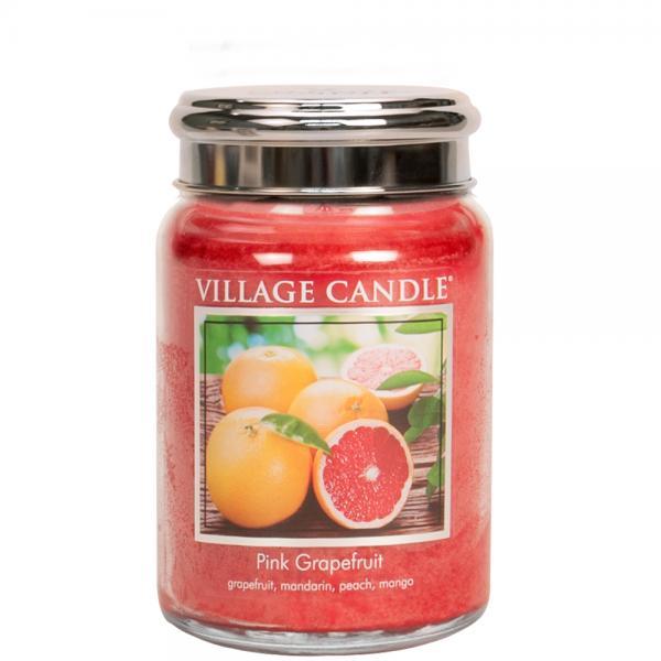 Village Candle - Large Glass Jar - Pink Grapefruit
