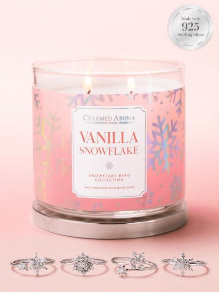 Charmed Aroma - Duftkerze mit Schmuck - Vanilla Snowflake Kerze (Ring)