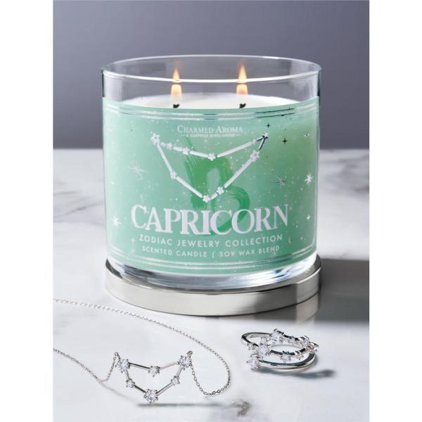 Charmed Aroma - Duftkerze mit Schmuck - Duftkerze im Glas Steinbock Sternzeichen (Ring oder Halskett