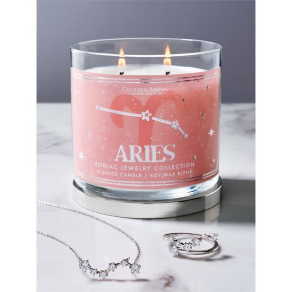 Charmed Aroma - Duftkerze mit Schmuck - Duftkerze im Glas Widder Sternzeichen (Ring oder Halskette)