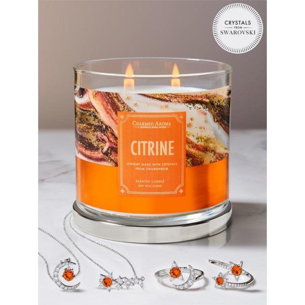 Charmed Aroma - Duftkerze mit Schmuck - Duftkerze im Glas Citrin Geburtsstein (Ring oder Halskette)