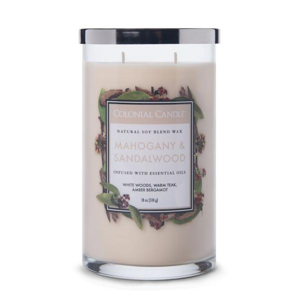 Colonial Candle - Große Duftkerze im Glas - Classic Cylinder - Mahogany & Sandalwood