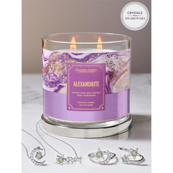 Charmed Aroma - Duftkerze mit Schmuck - Alexandrit Geburtsstein (Halskette)