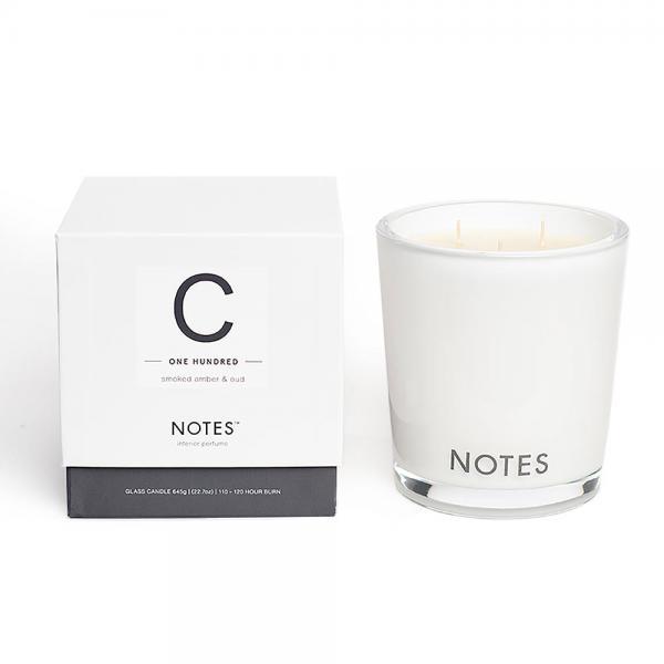 NOTES - Large Candle Glass - Duftkerze - C - One Hundred - Smoked Amber & Oud