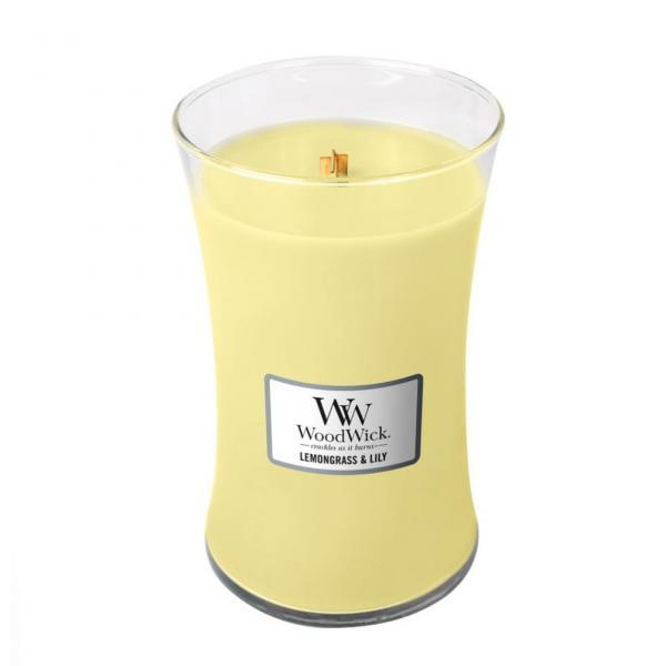WoodWick - Large Hourglass Duftkerze - Lemongrass & Lily