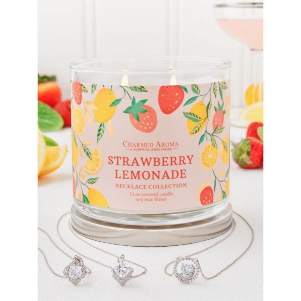 Charmed Aroma - Duftkerze mit Schmuck - Strawberry Lemonade (Halskette)