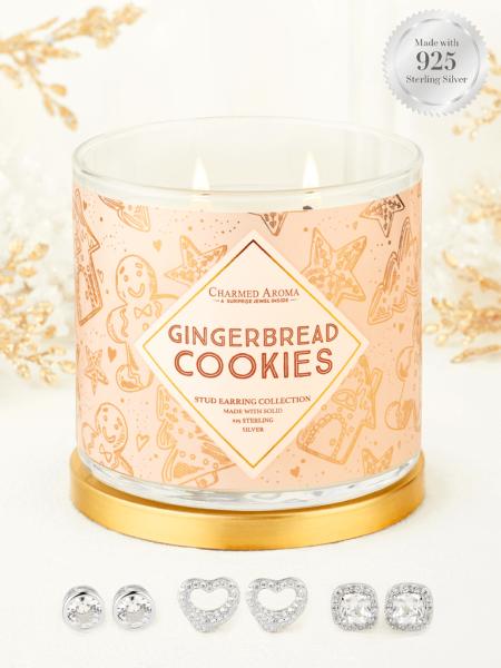 Charmed Aroma - Duftkerze mit Schmuck - Gingerbread Cookies (Ohrringe)