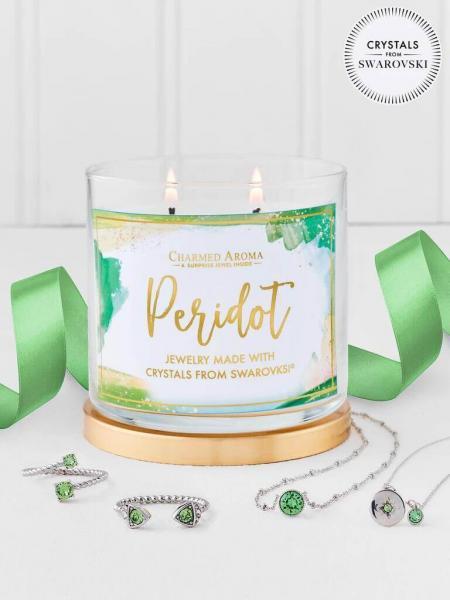 Charmed Aroma - Duftkerze mit Schmuck - Peridot Geburtsstein Kerze mit Swarovski Kristallen (Halsket