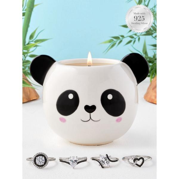 Charmed Aroma - Duftkerze mit Schmuck - Panda (Ring)