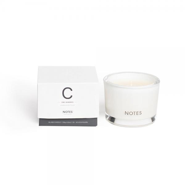 NOTES - Small Candle Glass - Duftkerze - C - One Hundred - Smoked Amber & Oud